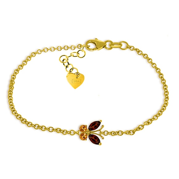 Galaxy Gold Products Jewelry - SOLID GOLD BUTTERFLY BRACELET WITH GARNETS & CITRI